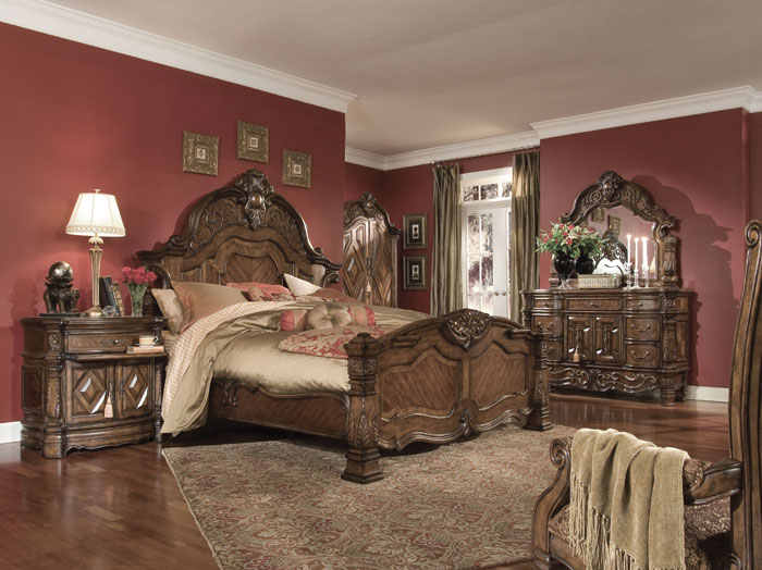 Valencia Carved Wood Traditional Bedroom Furniture Set 209000: Aico Windsor Court Bedroom Furniture