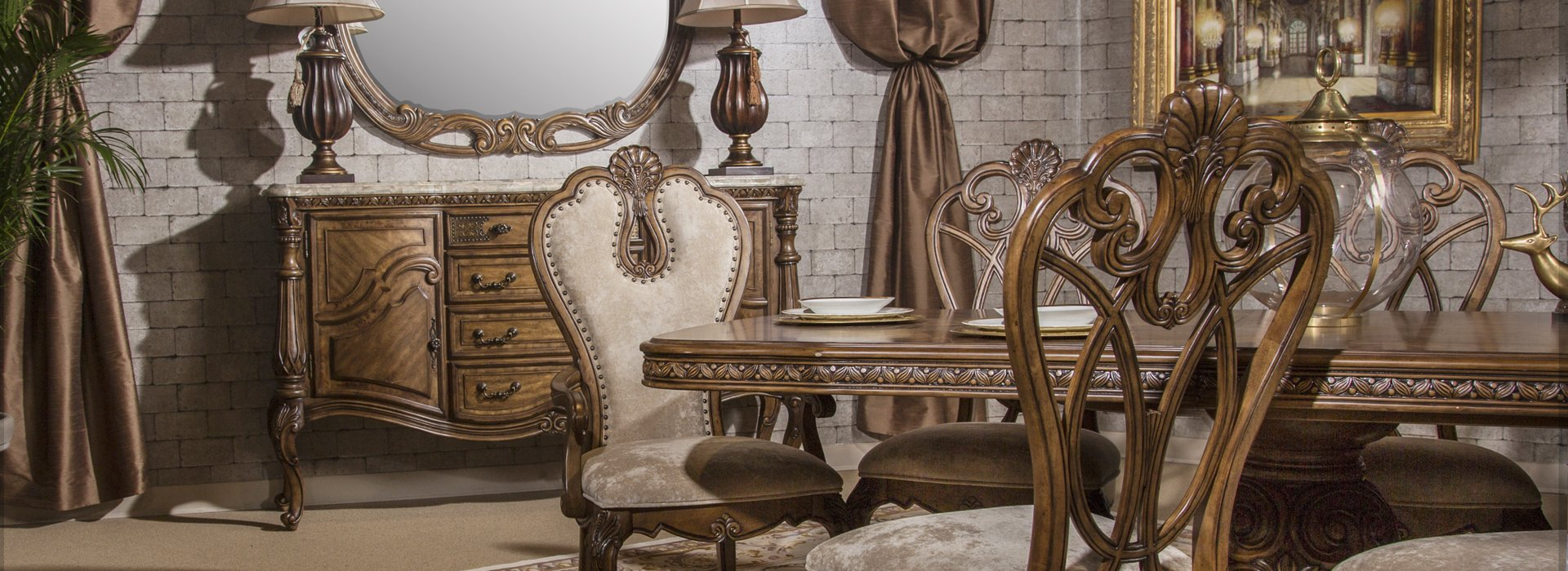 Valencia Carved Wood Traditional Bedroom Furniture Set 209000: Aico Eden's Paradise Dining Collection