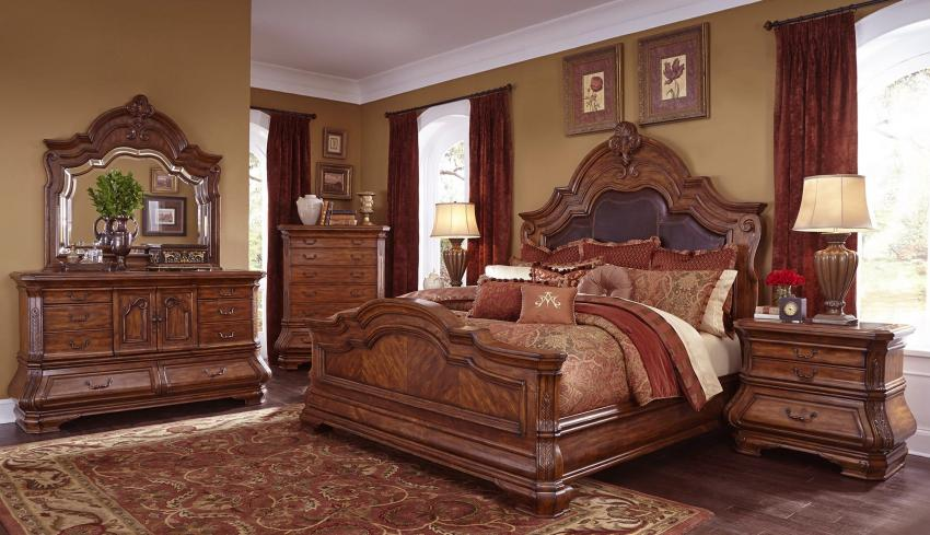 Valencia Carved Wood Traditional Bedroom Furniture Set 209000: Tuscano Melange Bedroom By Aico