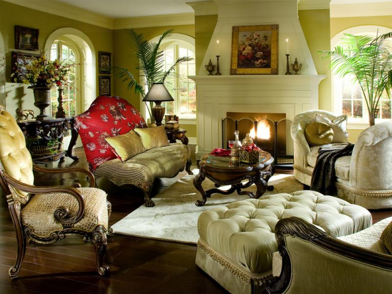 Valencia Carved Wood Traditional Bedroom Furniture Set 209000: Chateau Beauvais Upholstery By Aico