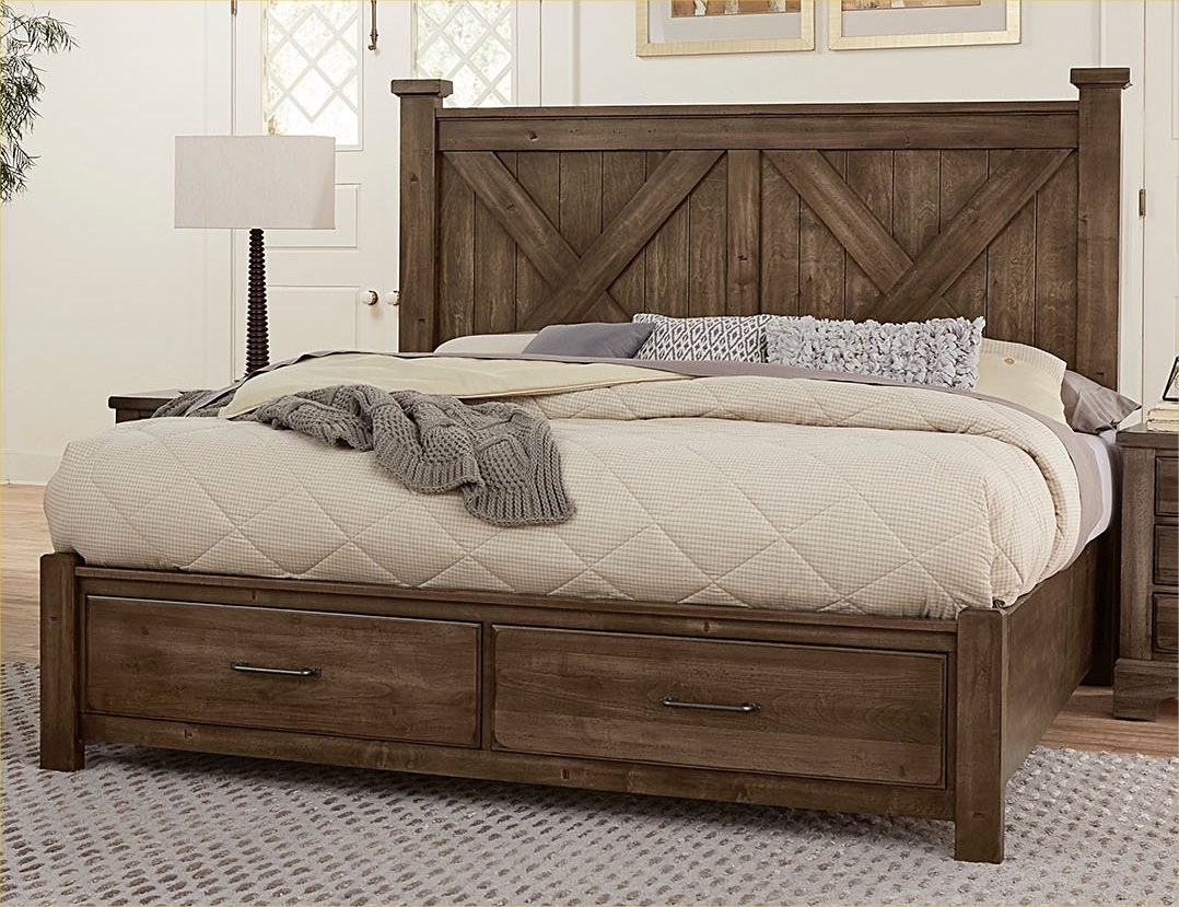 Cal King X Bed W Storage Footboard Cool Rustic Mink Cool Rustic Vb Artisan Post Shop By Brand
