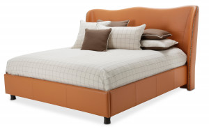 Queen Upholstered Wing Bed