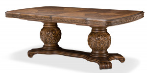 Rectangular Pedestal Table w/ 2 24 Inch Leaves