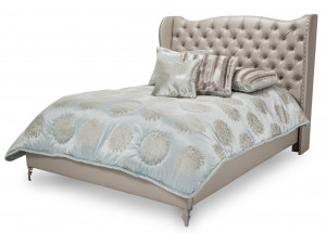 King Upholstered Platform Bed-Frost