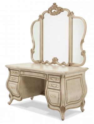 Glass Top Vanity & Mirror