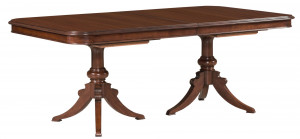 "Double Pedestal Dining Table w/ Two 20"" Leaves"