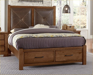 King Leather Bed W/ Storage Footboard