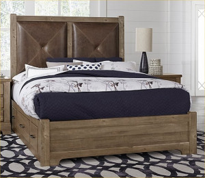 King Leather Bed W/ One Side Storage