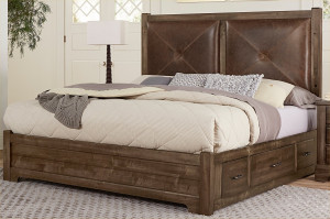 Queen Leather Bed W/ One Side Storage