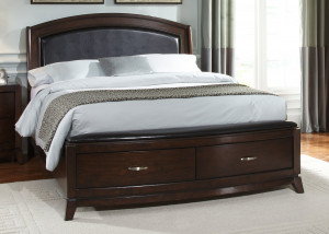 Queen Leather Storage Platform Bed