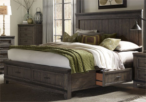 King Three Sided Storage Bed