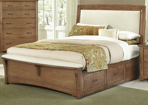 Queen Upholstered Bed w/ 1 Sided Storage