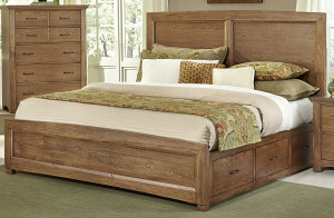 King Panel Bed w/ 1 Sided Storage
