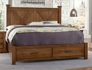 Cal King X Bed W/ Storage Footboard