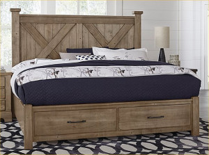Cal King X Bed W/ Storage Footboard