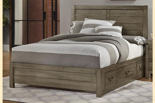 VB Artisan & Post  Sedgwick-Earl Grey King Plank Bed w/ Two Side Storage