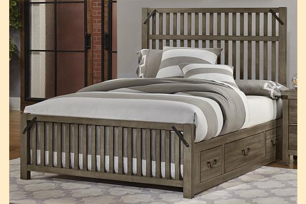 VB Artisan & Post  Sedgwick-Earl Grey Queen Elevator Slat Bed w/ Two Side Storage