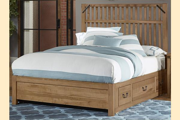VB Artisan & Post  Sedgwick-Natural Maple Queen Elevator Slat Bed w/ Two Side Storage