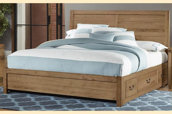 VB Artisan & Post  Sedgwick-Natural Maple King Plank Bed w/ One Side Storage