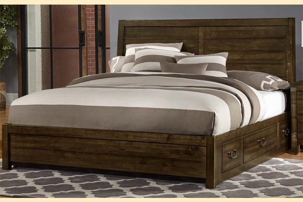 VB Artisan & Post  Sedgwick-Classic Dark Maple King Plank Bed w/ One Side Storage