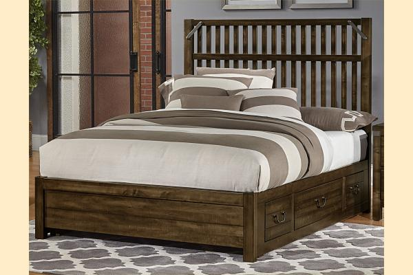 VB Artisan & Post  Sedgwick-Classic Dark Maple King Elevator Slat Bed w/ Two Side Storage