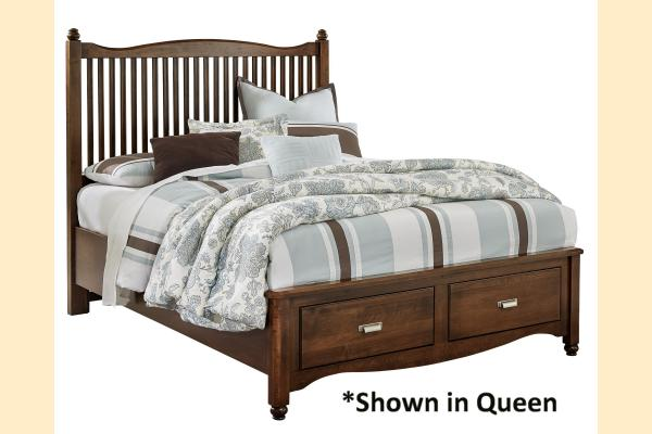 Vaughan Bassett American Maple-Cottage Cherry  King Slat Storage Bed