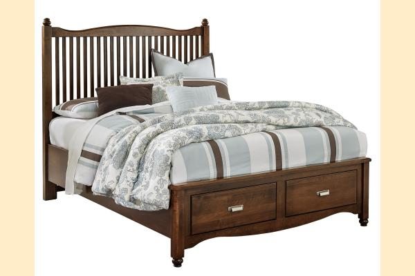 Vaughan Bassett American Maple-Cottage Cherry  Queen Slat Storage Bed