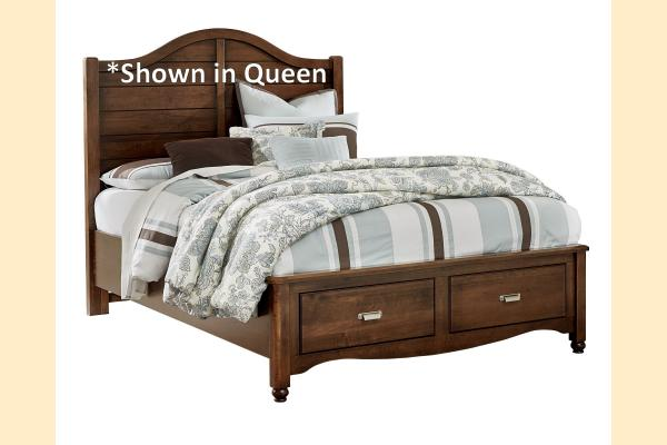 Vaughan Bassett American Maple-Cottage Cherry King Shiplap Storage Bed