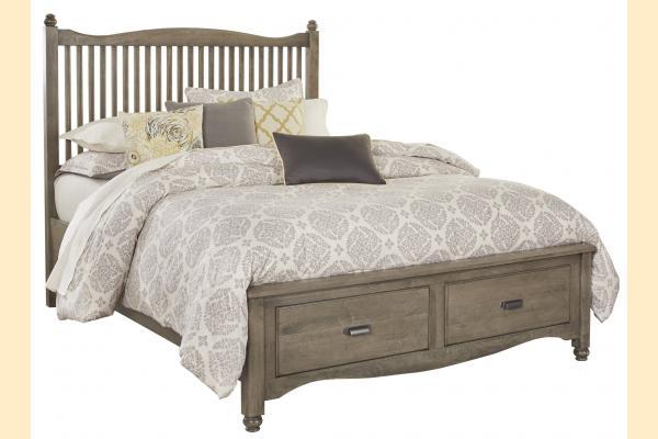 Vaughan Bassett American Maple-Rustic Grey Queen Slat Storage Bed