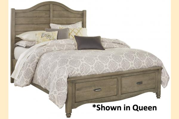 Vaughan Bassett American Maple-Rustic Grey King Shiplap Storage Bed
