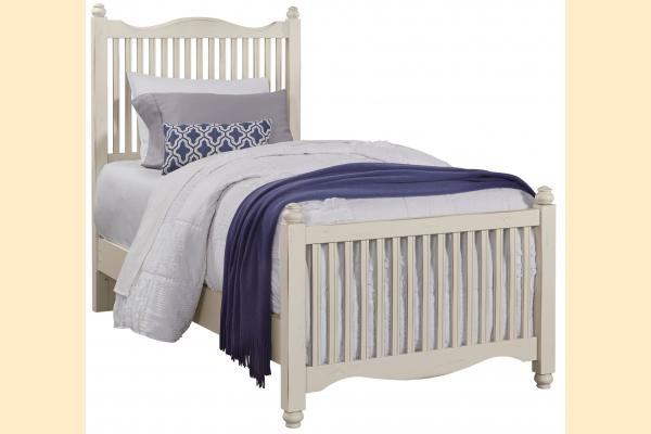 Vaughan Bassett American Maple-Dusky White Twin Slat Bed