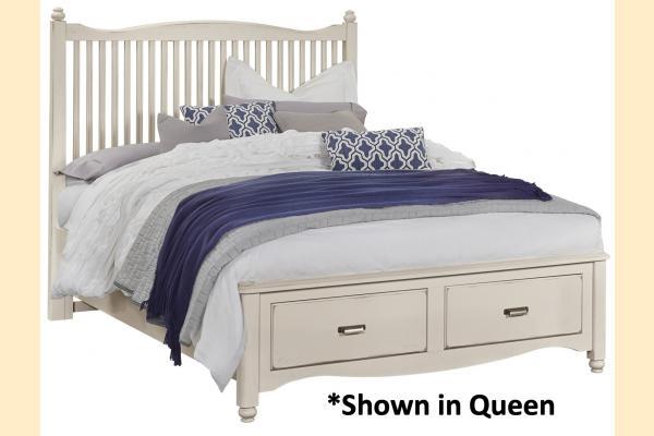 Vaughan Bassett American Maple-Dusky White King Slat Storage Bed