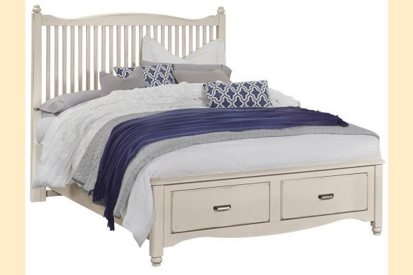 Vaughan Bassett American Maple-Dusky White Queen Slat Storage Bed
