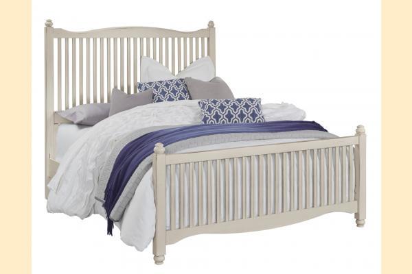 Vaughan Bassett American Maple-Dusky White Queen Slat Bed