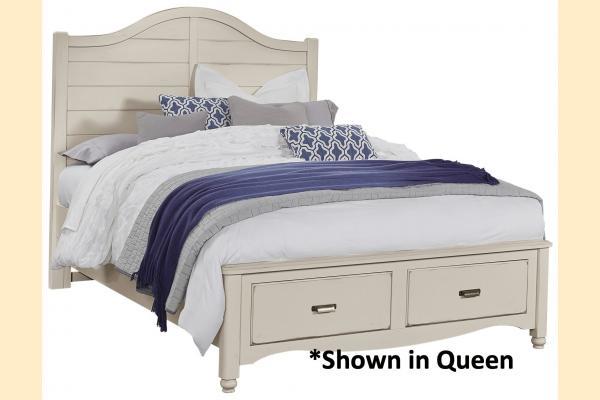 Vaughan Bassett American Maple-Dusky White King Shiplap Storage Bed