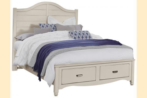 Vaughan Bassett American Maple-Dusky White Queen Shiplap Storage Bed