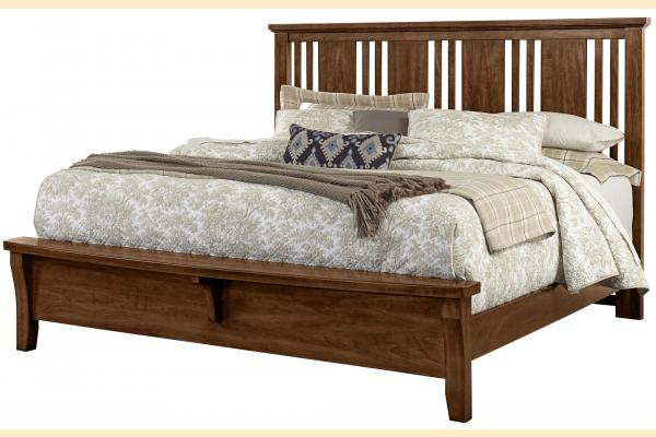 Vaughan Bassett American Cherry-Amish Cherry Queen Craftsman Bed with Bench Foot board