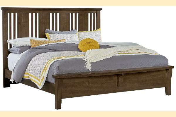 Vaughan Bassett American Cherry-Amish Cherry King Craftsman Bed with Bench Foot Board
