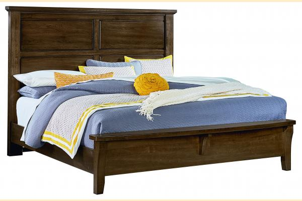 Vaughan Bassett American Cherry-Amish Cherry King Mansion Bed w/ Bench Footboard
