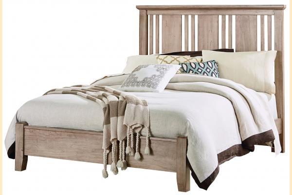 Vaughan Bassett American Cherry-Rustic Sandstone Queen Craftsman Bed with Low Profile Foot board