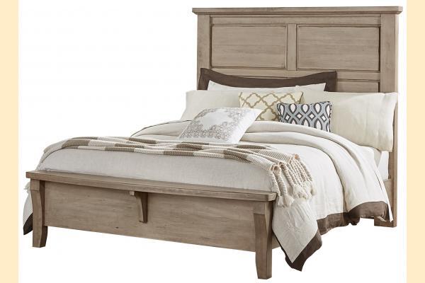 Vaughan Bassett American Cherry-Rustic Sandstone Queen Mansion Bed w/ Bench Footboard