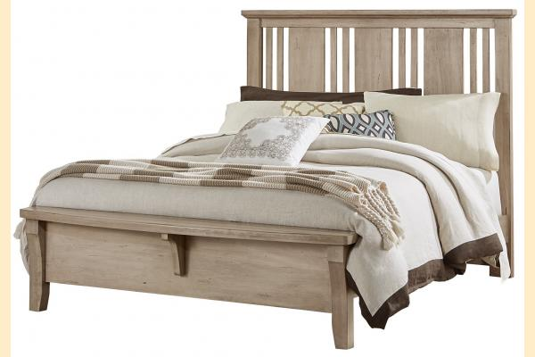 Vaughan Bassett American Cherry-Rustic Sandstone King Craftsman Bed with Bench Foot Board