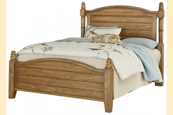 Vaughan Bassett American Oak-Honey Oak Queen Poster Bed