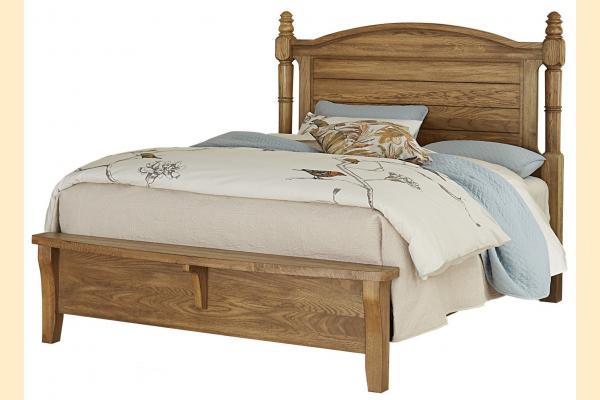Vaughan Bassett American Oak-Honey Oak Queen Poster Bed w/Bench Footboard
