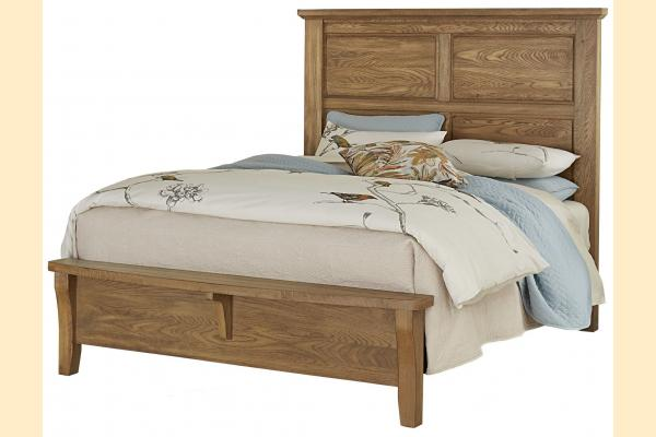 Vaughan Bassett American Oak-Honey Oak Queen Mansion Bed w/Bench Footboard