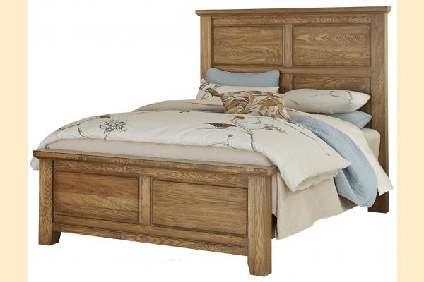 Vaughan Bassett American Oak-Honey Oak Queen Mansion Bed