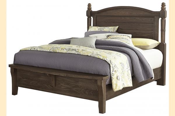 Vaughan Bassett American Oak-Molasses Oak Queen Poster Bed w/Bench Footboard