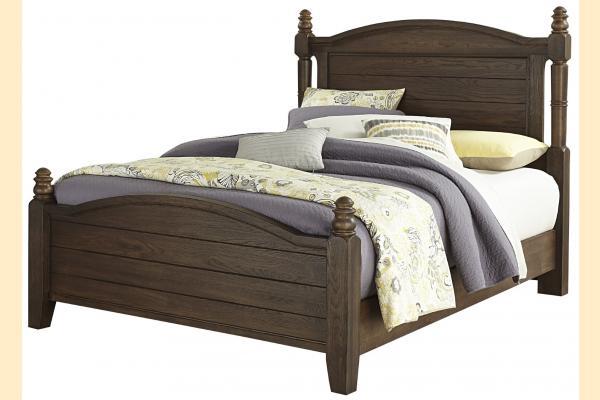 Vaughan Bassett American Oak-Molasses Oak Queen Poster Bed
