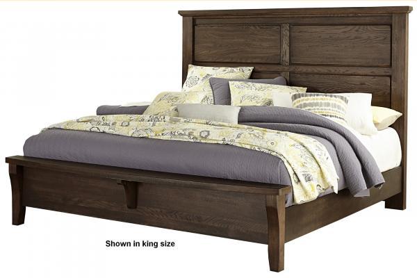 Vaughan Bassett American Oak-Molasses Oak Queen Mansion Bed w/Bench Footboard