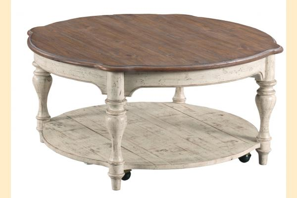 Kincaid Weatherford-Cornsilk Bolton Round Cocktail Table